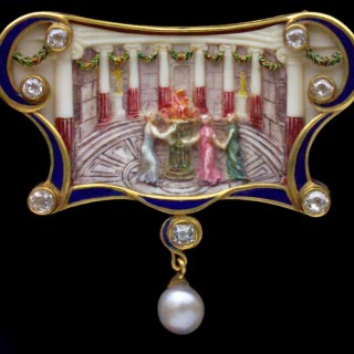 The Vestal Virgins. An important classical brooch/pendant in the style of the antique