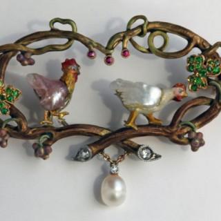Symbolist Brooch 'The Cockerel & The Hen'
