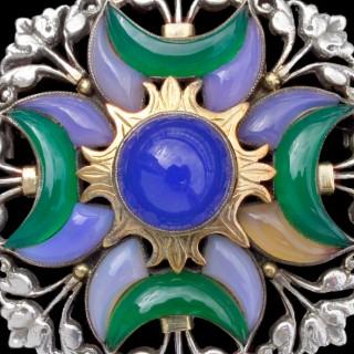 Arts & Crafts Sun & Moon Brooch