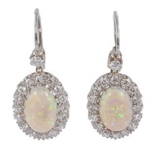 Opal and Diamond cluster earrings