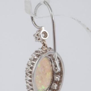 Opal and Diamond cluster earrings