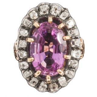 Antique Pink Topaz and Diamond cluster ring