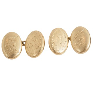 19th Century engraved Cuff Links