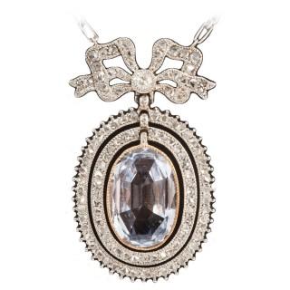 Edwardian Natural Sapphire diamond pendant