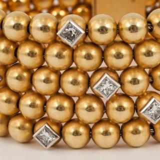 Diamond Gold Wide Cuff Bracelet