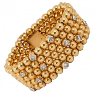 Diamond Gold Wide Cuff Bracelet