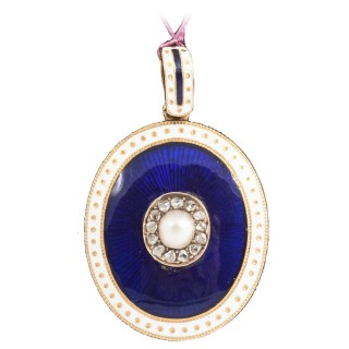 Victorian Oval Enamel Pearl Diamond Gold Locket