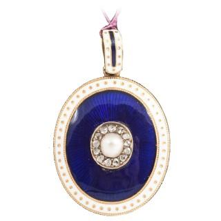 Victorian Oval Enamel Pearl Diamond Gold Locket
