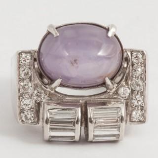 Star Sapphire and Diamond dress ring