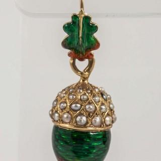 Antique French Pearl Enamel Acorn Earrings