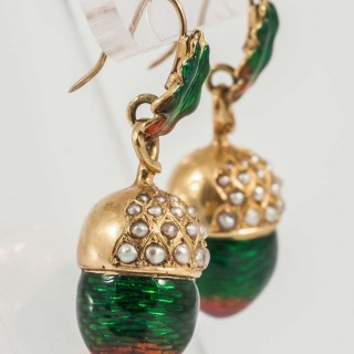 Antique French Pearl Enamel Acorn Earrings