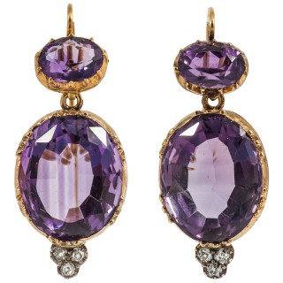Victorian Amethyst Diamond Gold Drop Earrings