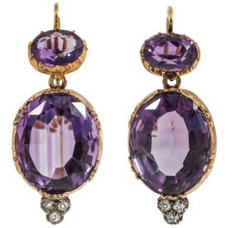 Victorian Amethyst Diamond Gold Drop Earrings