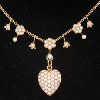 Pretty Edwardian Pearl Gold Necklet