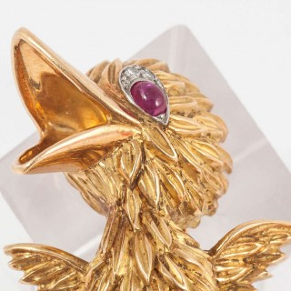 Amusing Ruby Diamond Gold Tweetie Pie Pin