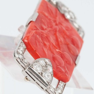 Art Deco Coral Diamond Platinum Pin