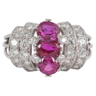 Ruby Diamond Platinum Cocktail Ring