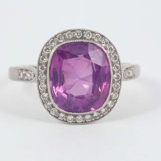 Pink Ceylon Sapphire Diamond Platinum Cluster Ring