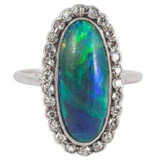 Fine Opal Diamond Platinum Cluster Ring