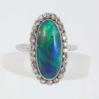 Fine Opal Diamond Platinum Cluster Ring