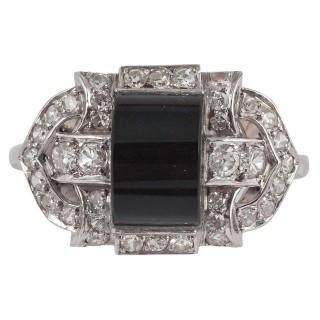Art Deco Onyx Diamond Platinum Cocktail Ring
