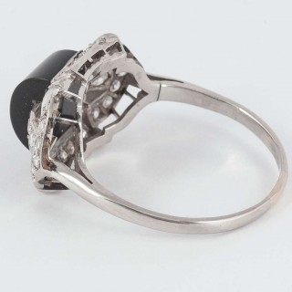 Art Deco Onyx Diamond Platinum Cocktail Ring