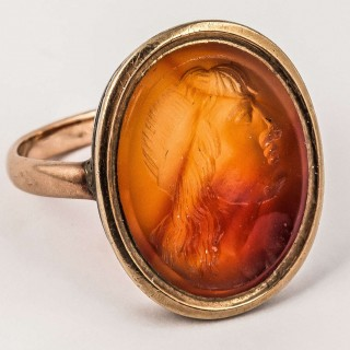 Antique Georgian Gold Signet Ring with Carnelian Intaglio Profile