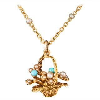 Unusual Turquoise Pearl Gold Basket Pendant