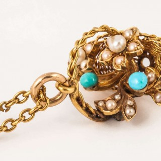 Unusual Turquoise Pearl Gold Basket Pendant