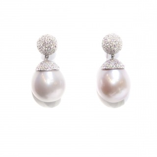 pair of pink south sea pearl earrings