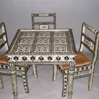 Unusual Set of Indian Camel Bone Furniture Incl. Four Chairs, Square Table & Domed Coffer