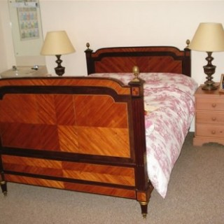 Inlaid French Double Bed Veneered with Purple Heart & Kingwood