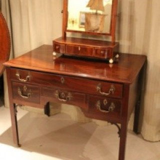 19th Century Mahogany, Ebony & Boxwood Lined Dressing Table Mirror