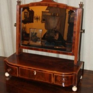 19th Century Mahogany, Ebony & Boxwood Lined Dressing Table Mirror
