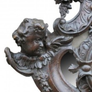 Pair of 18th C Walnut carved Baroque Mirrors