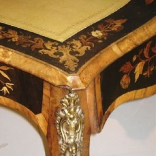 Louise XV Style Ormolu Mounted Marquetry Bureau Plat