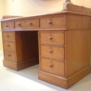 Antique Desk / Dressing Table, 'Bird's Eye' Maple Wood