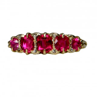 Antique Five Stone Ruby Ring