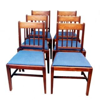 Antique Georgian Set Of Six Mahogany Dining Chairs