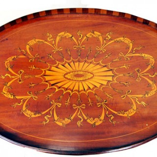 Antique Mahogany Oval Tray On Stand