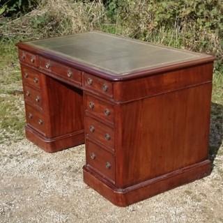 Antique Pedestal Desk In Mahogany