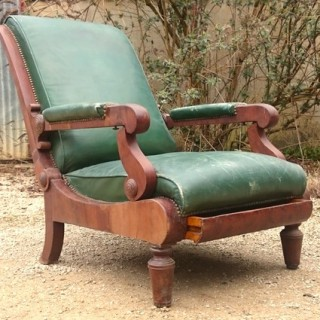 Antique Reclining Library Chair
