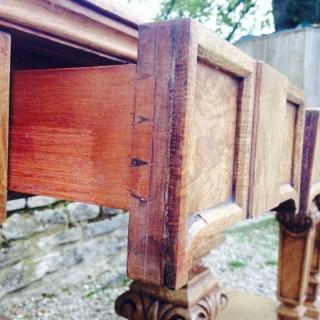 Antique Serving Table in Honey Colour Burr Oak