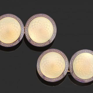 Pair of 19th Century opaline enamel on gold cufflinks in original case.