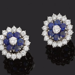 Pair sapphire and brilliant cut diamond cluster earrings in 18ct white gold
