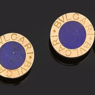 Pair of 18ct gold and natural lapis lazuli cufflinks.