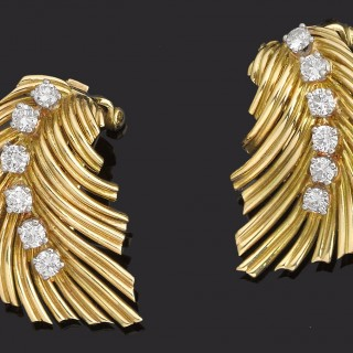 Pair of diamond and gold chip earrings