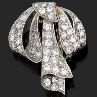 Platinum mounted diamond set, tied ribbon brooch, c. 1940