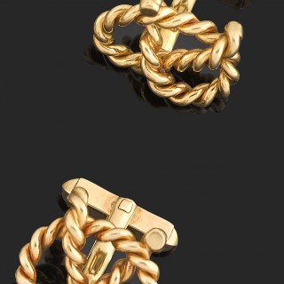 Heavy pair of 18ct gold knot cufflinks