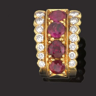 Pair of 18ct gold chip earrings set rubies and diamonds.